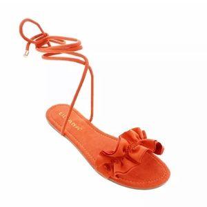 Liliana Orange Lace-up Sandals Nafla